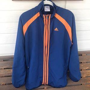 Adidas Blue and Orange Striped Jacket Large